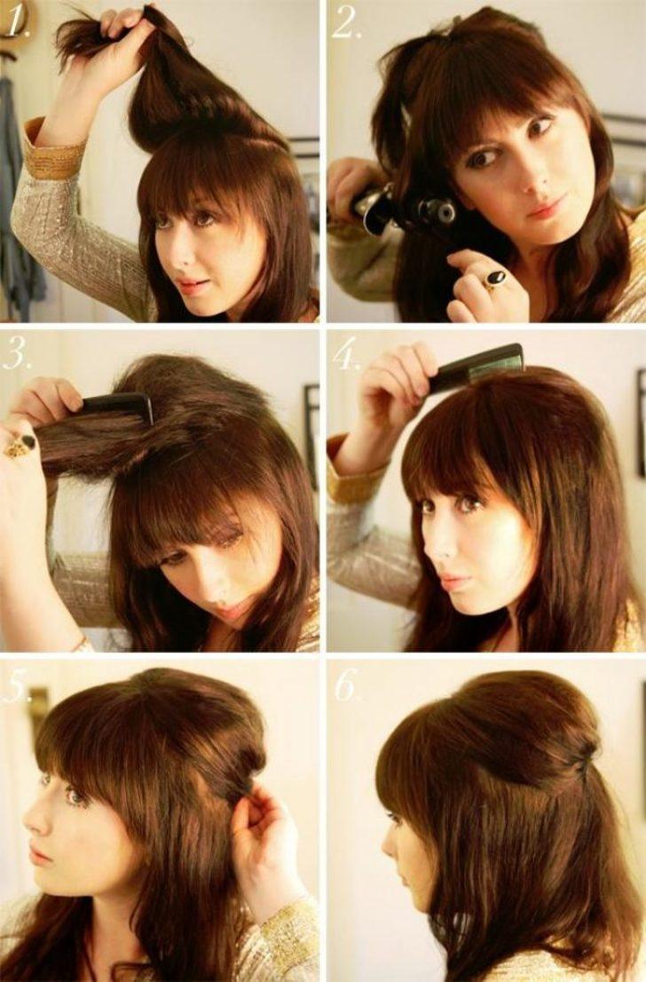 Повседневные причёски на средние волосы без челки фото