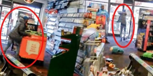 Oyun makinesinde kalan parasını alamayan adam, marketi yerle bir etti