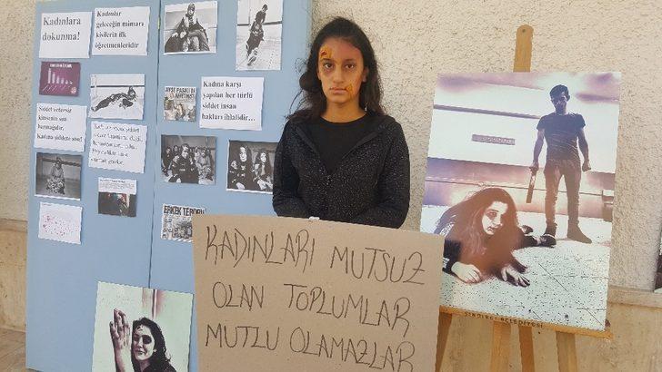 Öğrenciler kadına şiddeti canlandırdı
