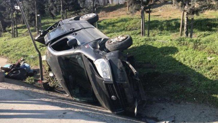 TEM'de feci kaza! Takla atarak yan yola uçtu