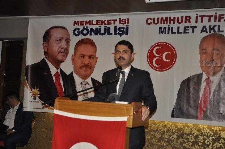 """Çevre ve Şehircilik Bakanı Murat Kurum; """"Biz, Cumhur ittifakını bu ülkenin bekası, birliği, beraberliği üzerine kurduk"""""""