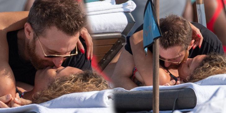 DJ David Guetta ve 24 yaş küçük sevgilisi plajda aşka geldi