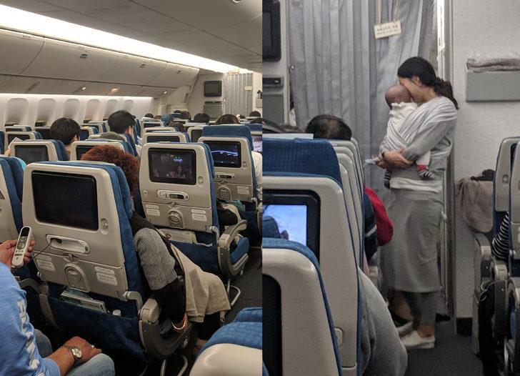 Bebeğiyle uçak yolculuğu yapan anne yolculara yaptığı hareketle viral oldu