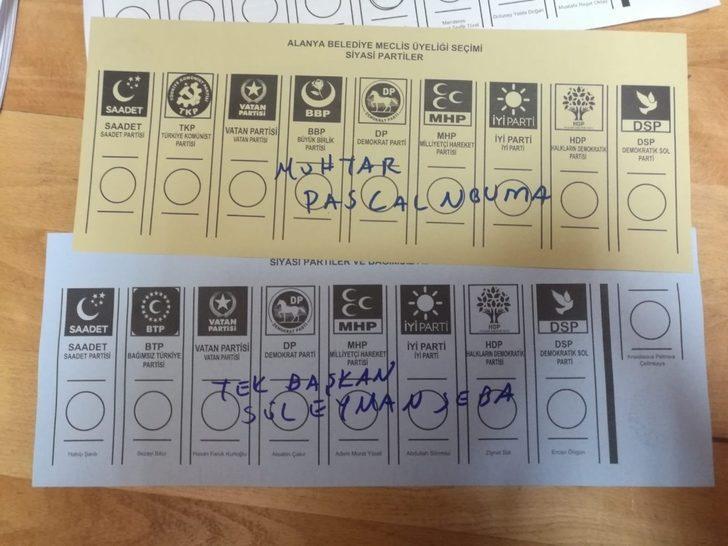 Alanya'dan Süleyman Seba ve Pascal Nouma'ya da oy çıktı