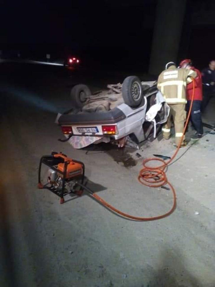 Balıkesir'de otomobil takla attı, sürücü öldü