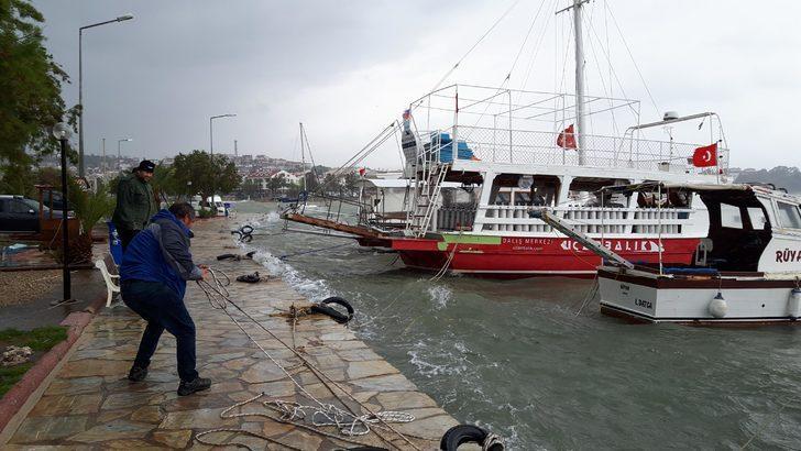 Datça'da kuvvetli rüzgar etkili oluyor