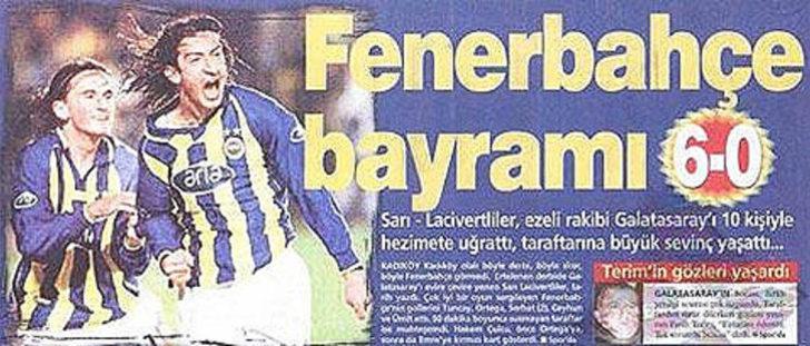 6 Kasım 2002   Fenerbahçe 6 - 0 Galatasaray - Fenerbahçe, Kadıköy'de konuk ettiği ezeli rakibini 6-0 gibi tarihi bir farkla mağlup etti.