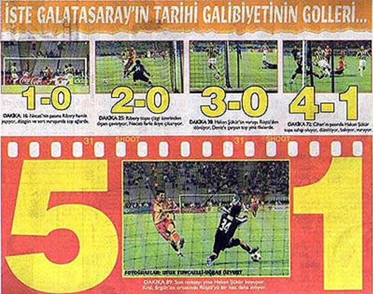11 Mayıs 2005   Galatasaray 5 - 1 Fenerbahçe - Türkiye Kupası finalinde Galatasaray, Fenerbahçe'yi 5-1 devirerek, 100. yılında unutulmaz bir zafere imza attı.