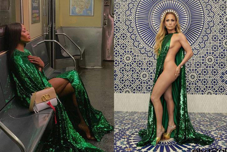 Naomi Campbell mı, Jennifer Lopez mi? Yeşil pelerin bu kez tecrübeli modelin üstünde!