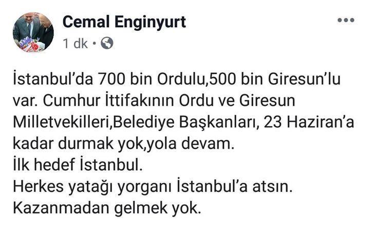 MHP'li Enginyurt'tan Ordu ve Giresunlulara çağrı