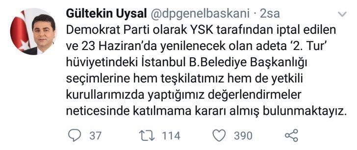 DP Genel Başkanı Uysal: İstanbul seçimlerine katılmama kararı aldık