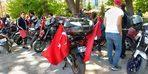 Motosiklet ve off-road'culardan Türk bayraklı kortej