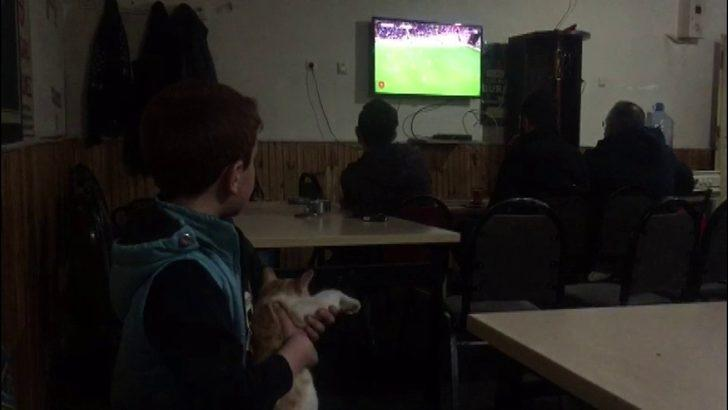 Küçük çocuk ve arkadaşı kedi her maçı birlikte izliyor