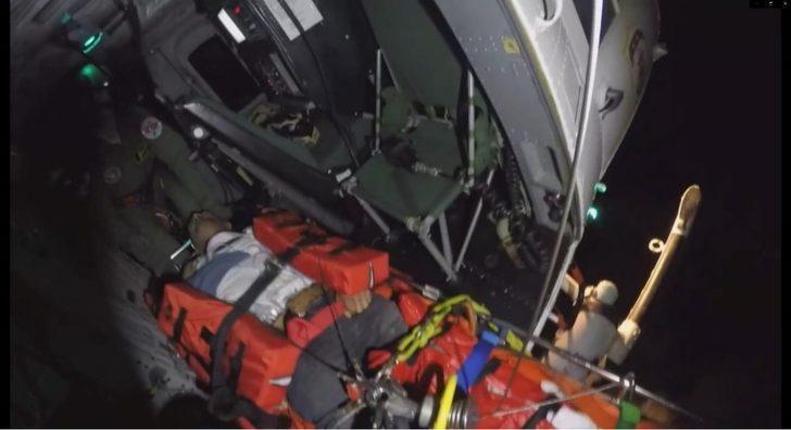 Kayalıklardan düşen vatandaşa helikopterli müdahale