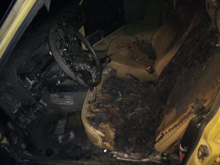 Kastamonu'da seyir halindeki araç yandı