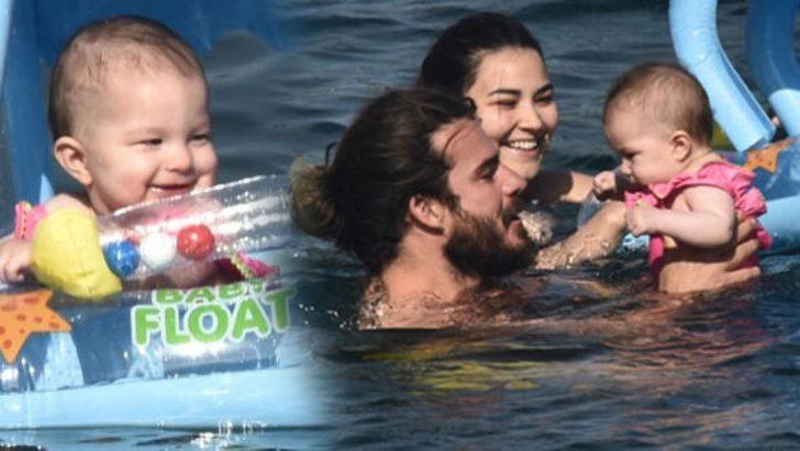 Gizem-Hakan Hatipoğlu çiftinin kızları Lila denizle tanıştı!