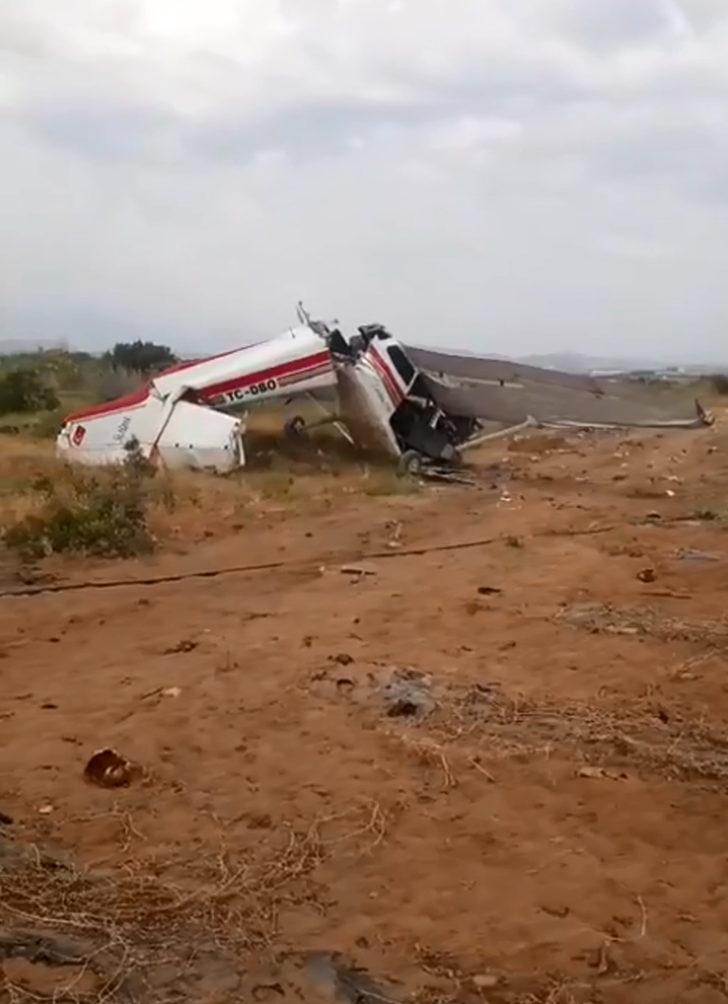 Manavgat'ta tek motorlu uçak düştü (1)
