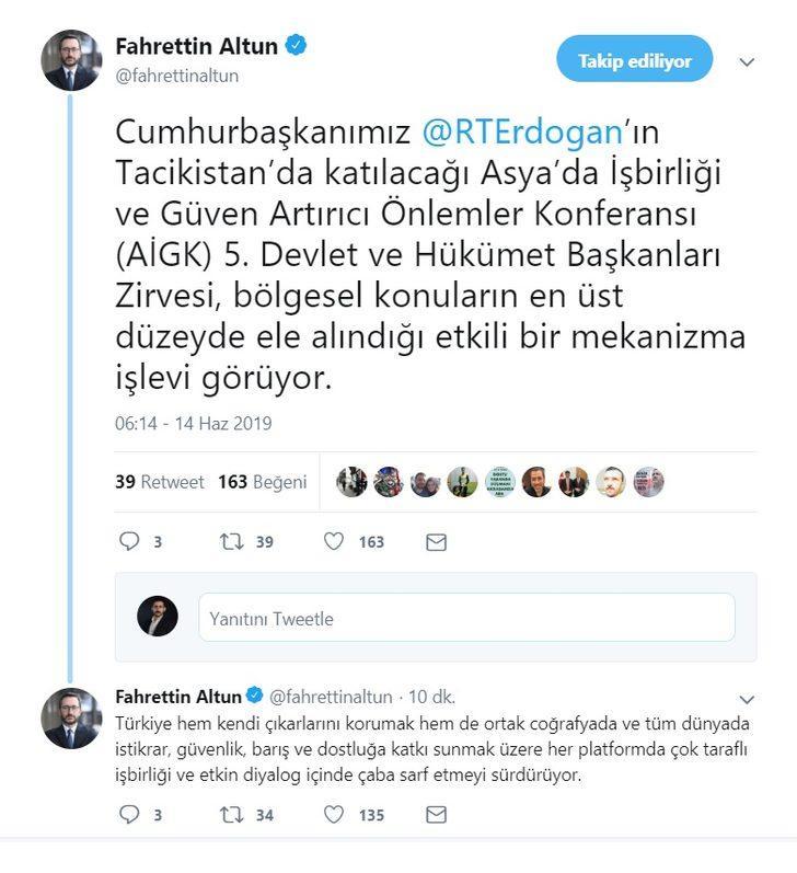 Altun: Türkiye her platformda çaba sarf etmeyi sürdürüyor