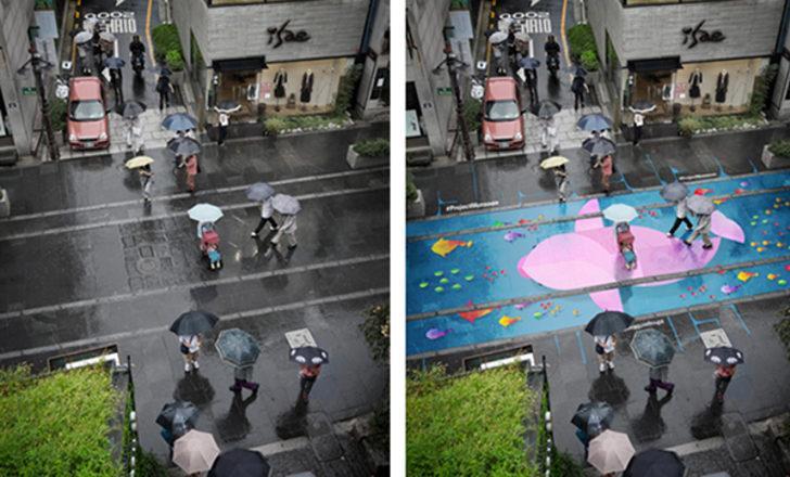 Suyla çalışan sokaklar yağmur yağarken canlanıyor!