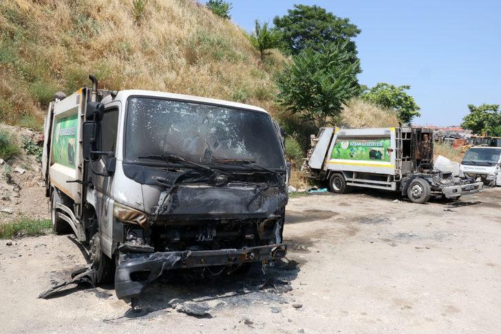 Keşan'da belediyeye ait 2 çöp kamyonu yakıldı