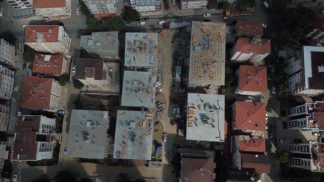 Kartal'da çökme sonrası yapılan binalardaki son durum havadan fotoğraflandı
