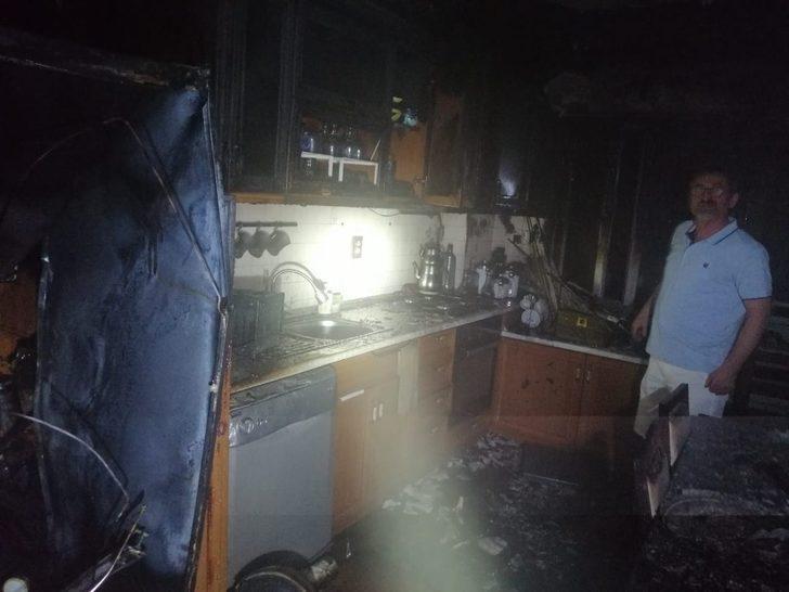 Buzdolabı alev aldı, 1 kişi dumandan etkilendi