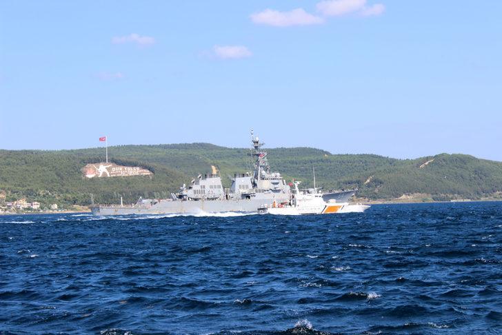 ABD savaş gemisi 'USS Carney' Çanakkale Boğazı'ndan geçti