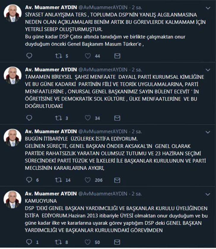 Muammer Aydın, DSP'deki görevlerinden istifa etti