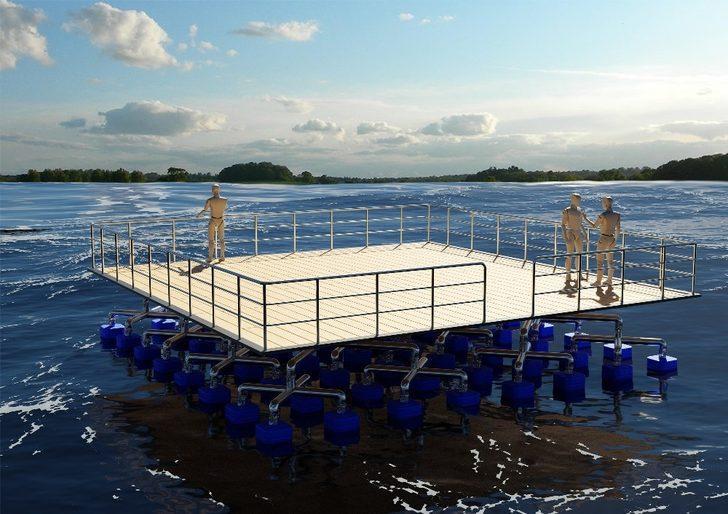 Dalgalardan etkilenmeyen yüzer platform