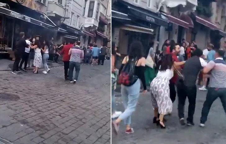 Taksim'de ortalık karıştı! Kadınlı erkekli kavga ettiler