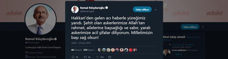 Kılıçdaroğlu'ndan Hakkari şehitlerine başsağlığı mesajı