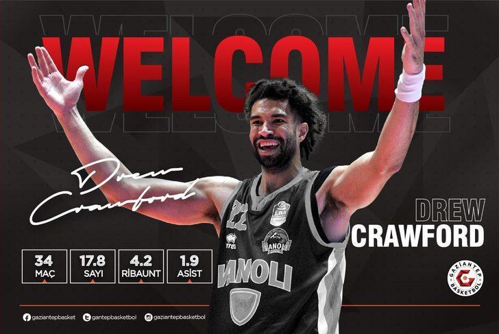 Gaziantep Basketbol, Drew Crawford'u renklerine bağladı