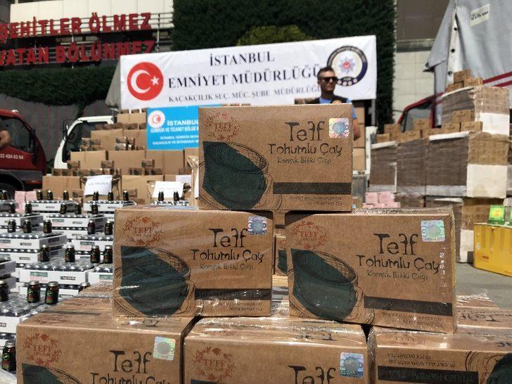 İstanbul merkezli 5 ilde yasaklı ilaç ve teff tohumlu çay operasyonu: 7 tır ürün ele geçirildi