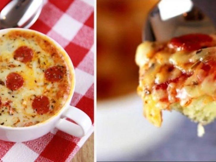 Sadece 2 dakikada fincanda pizza nasıl yapılır?