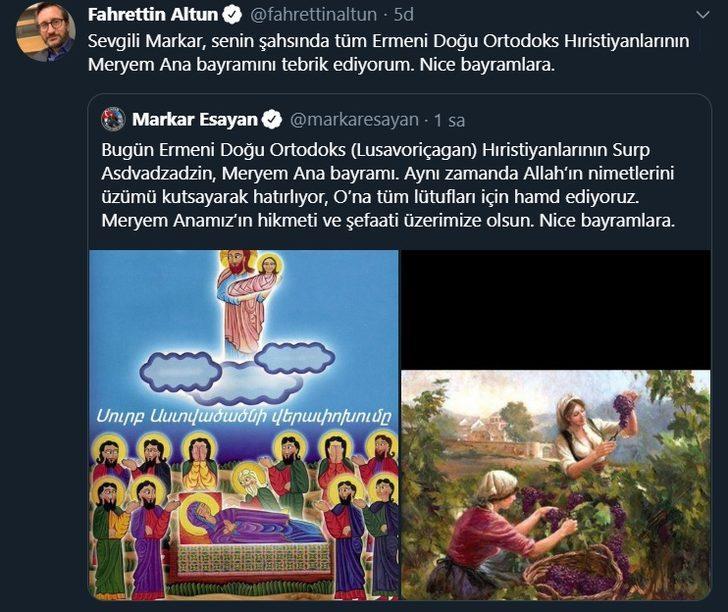 Fahrettin Altun, Meryem Ana bayramını tebrik etti