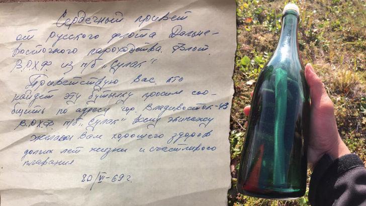 50 yıl önce yazılmış mektup şişede bulundu