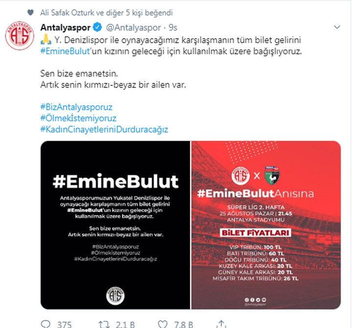 Antalyaspor'dan Emine Bulut'un kızına destek