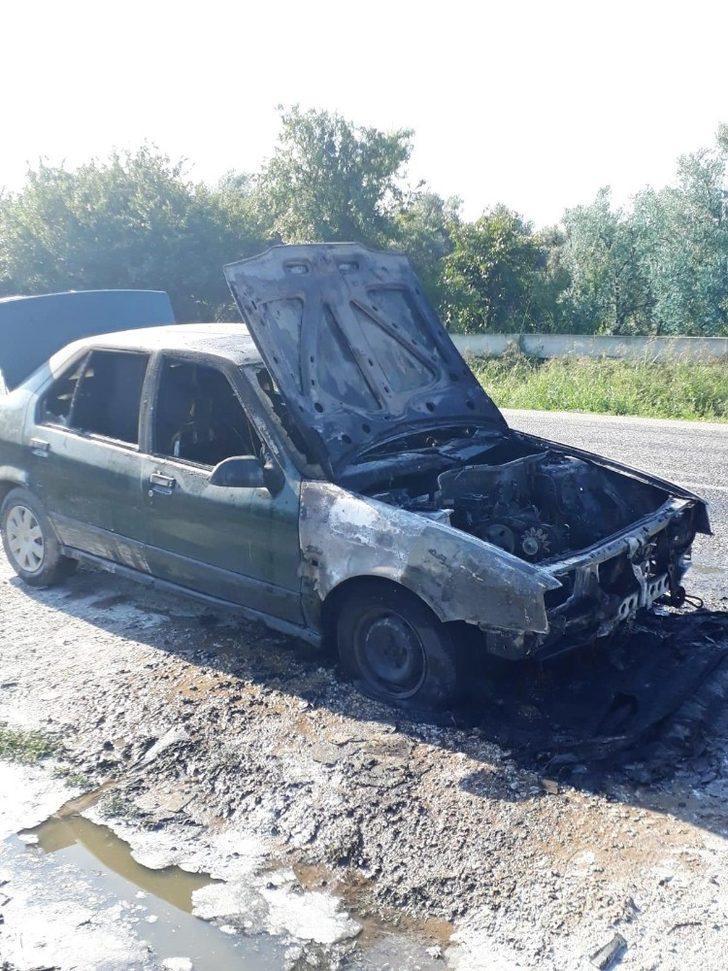 Seyir helindeki LPG'li araç alev aldı