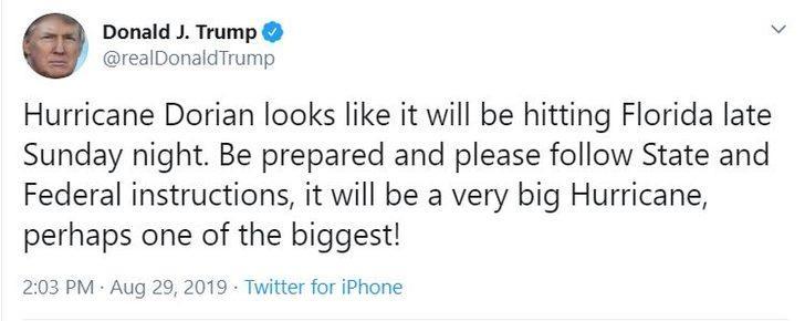 Trump'tan 'Dorian Kasırgası' ikazı