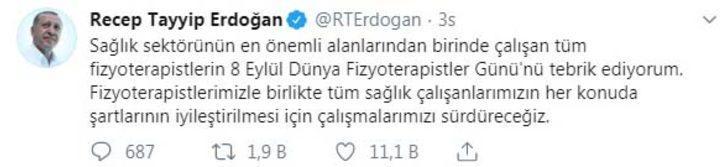 Erdoğan'dan 'Dünya Fizyoterapistler Günü' mesajı