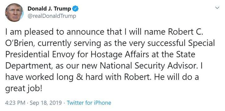 Trump'ın yeni ulusal güvenlik danışmanı O'Brien