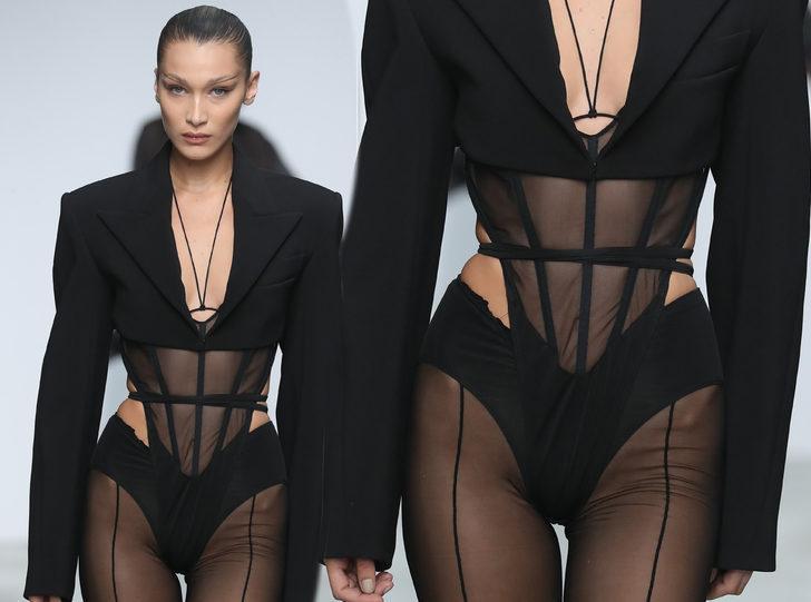 Paris Moda Haftası Bella Hadid rüzgarı! Mugler defilesine damga vurdu