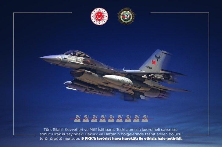 Irak'ın kuzeyine hava harekatında 9 PKK'lı etkisiz hale getirildi