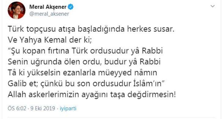 Akşener'den 'Barış Pınarı Harekâtı' açıklaması