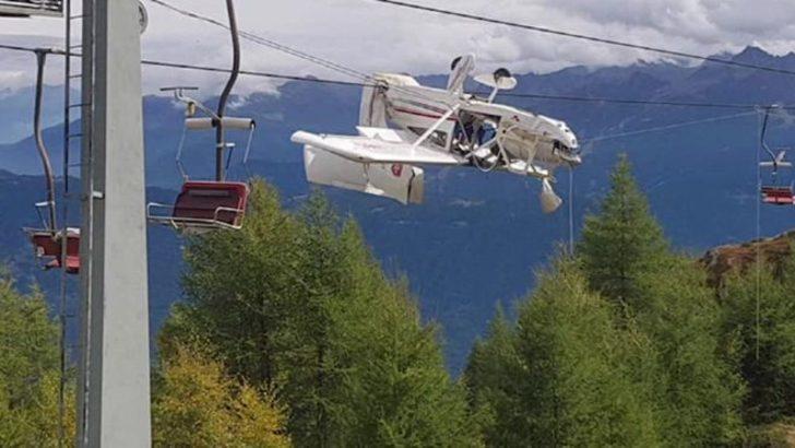 Böylesi görülmedi! Uçak kayak teleferiğinin tellerinde asılı kaldı