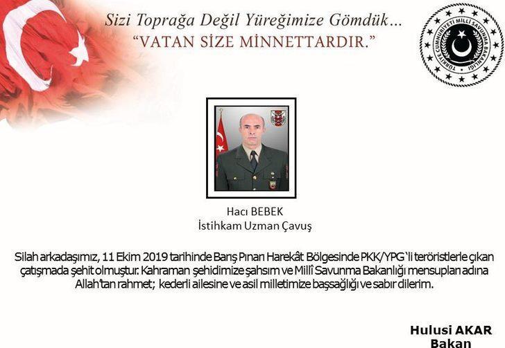 MSB: Barış Pınarı Harekatında 1 asker şehit oldu (2)