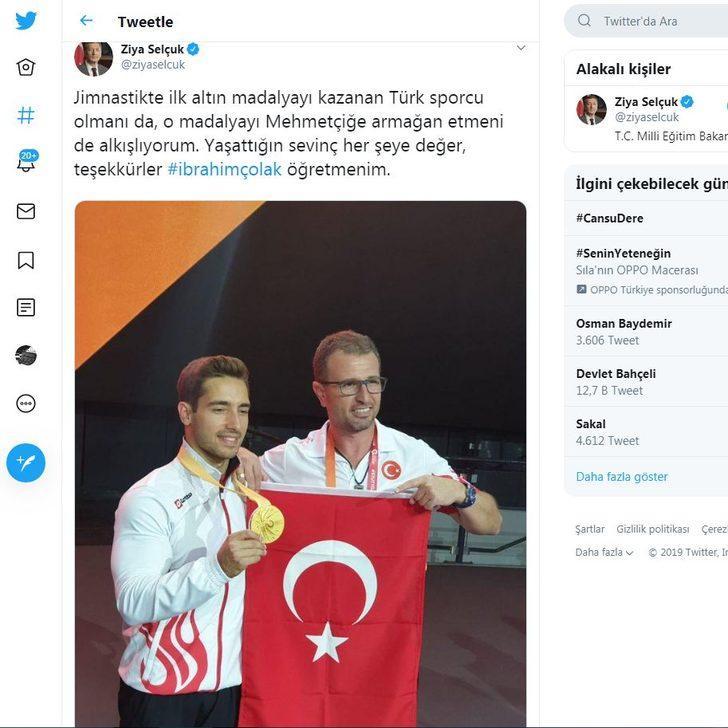 Bakan Selçuk, altın madalya kazanan Çolak'ı kutladı
