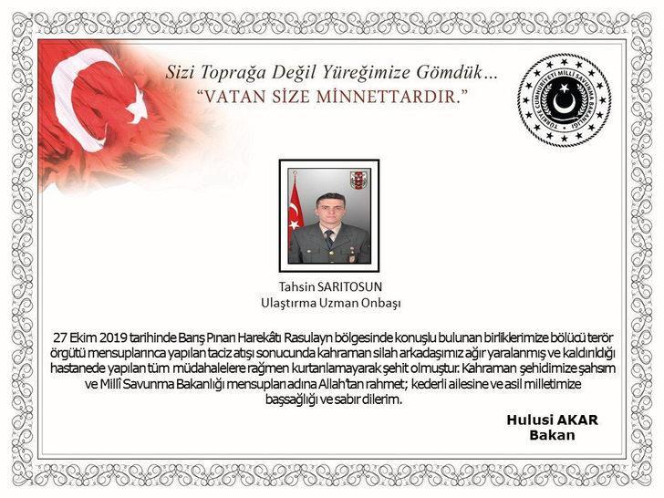 'Barış Pınarı Harekatı'nda yaralanan uzman onbaşı şehit oldu (3)