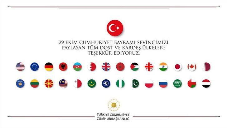 """Cumhuriyet Bayramı'nı kutlayan ülkelere """"teşekkür"""""""