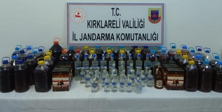 Kırklareli'de 249 litre kaçak içki ele geçirildi